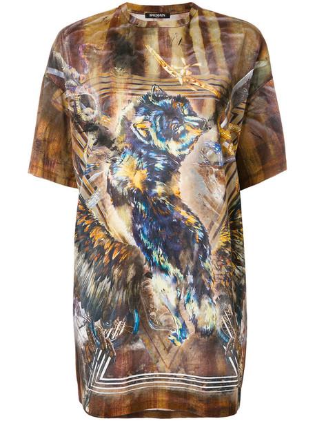 Balmain - tiger print T-shirt - women - Cotton - 36, Cotton