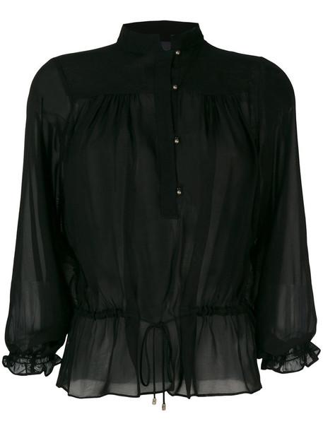 blouse button up blouse women black top