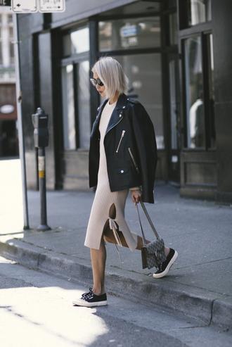 the haute pursuit blogger shoes gucci dionysus black coat leather jacket black sneakers converse