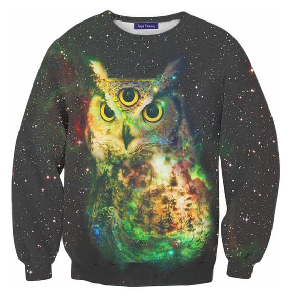 owl blouse swag hipster clothes full printed sweatshirts jacket,hoodie,sweatshirt,black yolo eye galaxy print
