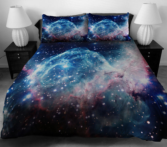Blue galaxy bedding set blue galaxy duvet cover galaxy sheet with two matching galaxy pillow covers