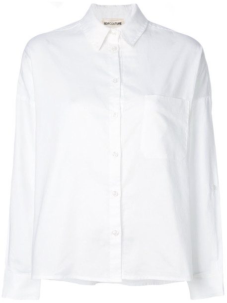 Semicouture - structured shirt - women - Cotton - 40, White, Cotton
