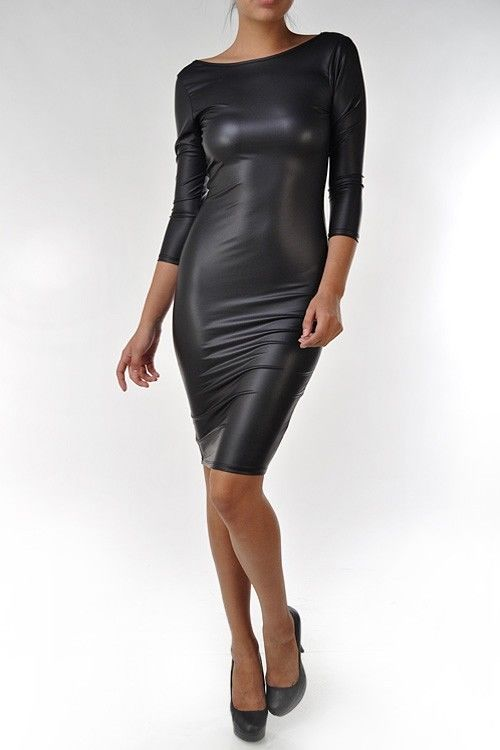 Women Sexy Faux Leather Red Open Back Fitted Bodycon Knee Length Pencil Dress US