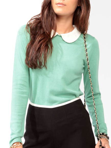 cute long sleeve shirt blouse turquoise collat