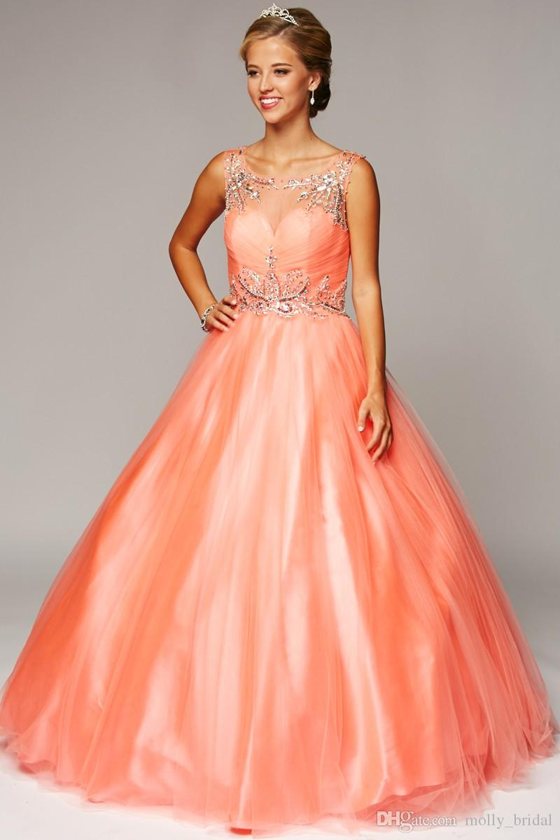 456f5316b9 2017 Fashion Ball Gown Coral Prom Dresses Cap Sleeve Sheer Scoop Crystal  Beaded Sequins Pleats Draped Backless Party ...