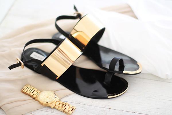 shoes gold black sandals gold flat sandals