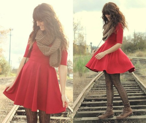 dress red dress vintage boots tights scarf shoes underwear