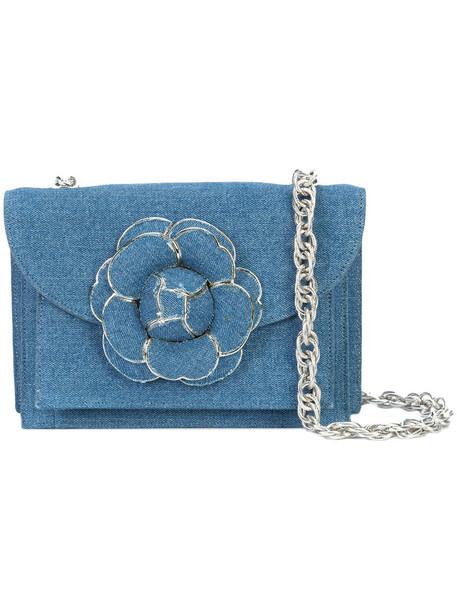 oscar de la renta women clutch cotton blue bag