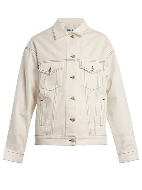MSGM jacket denim jacket oversized denim jacket denim oversized white