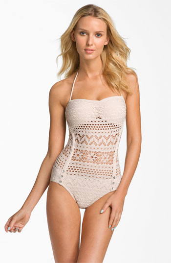 8dfe6eac78 Robin Piccone 'Penelope' Crochet Overlay One Piece Swimsuit | Nordstrom