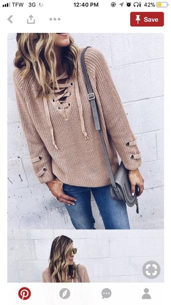 sweater beige tan nude knitted sweater