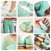 swimwear,beach,bikini,mint,bag,sweater,jewels,shoes,mint pants,mintgreen heels,heels,wedges,high heels,sandals,sneakers,top,mint green shoes,boots