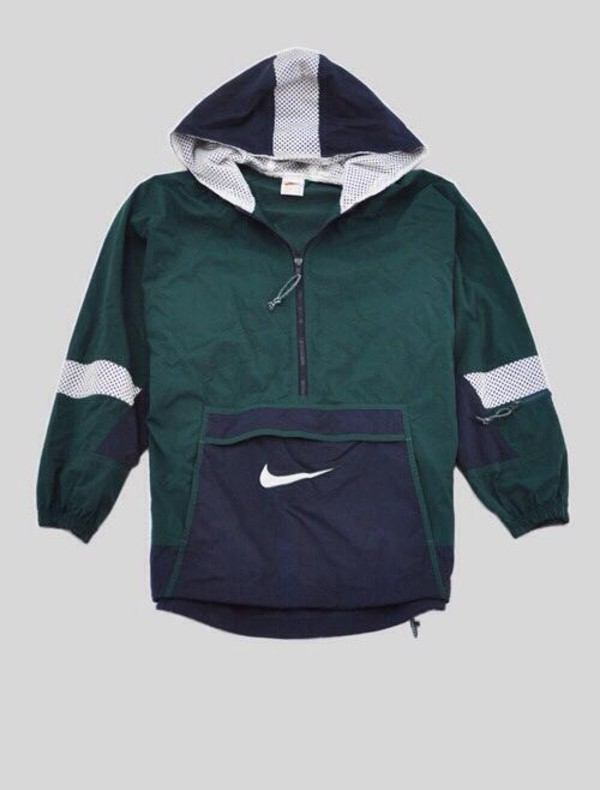 coat jacket clothes windbreaker nike blue green white denim jacket