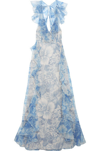 gown back open floral print blue silk dress