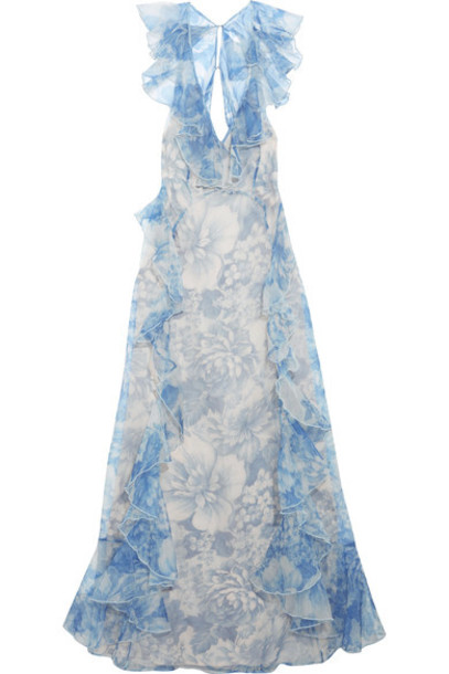 Alice McCall gown back open floral print blue silk dress