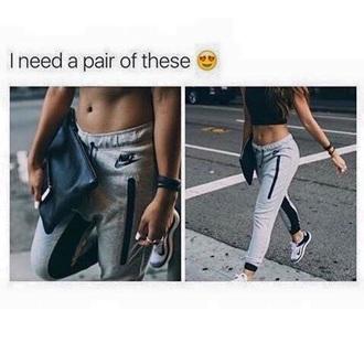pants nike grey black tracksuit