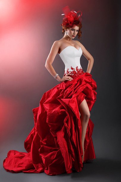Dress White And Red Taffeta Gothic Prom Dress Taffeta Wedding