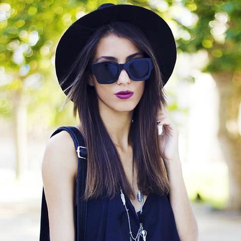 Womens Retro Thick Bold Frame Wayfarer Sunglasses 8777                           | zeroUV