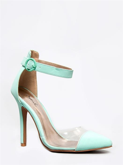 New Qupid Women Clear Ankle Strap Point Toe Heel Pump Green Mint Aqua Sz Menthol | eBay