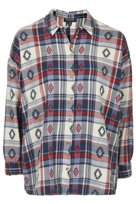 Check embroidered shirt