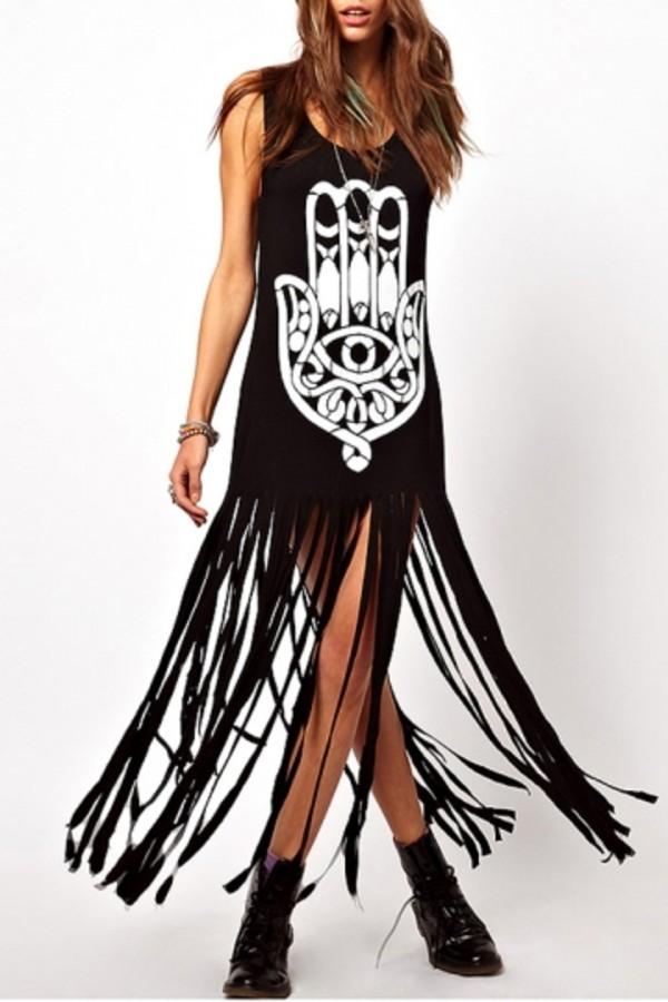 dress boho maxi tassel clothes black fashion vest shirt