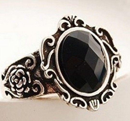 New Fashion Retro Ancient Magic Mirror Black Stone Ring RC009