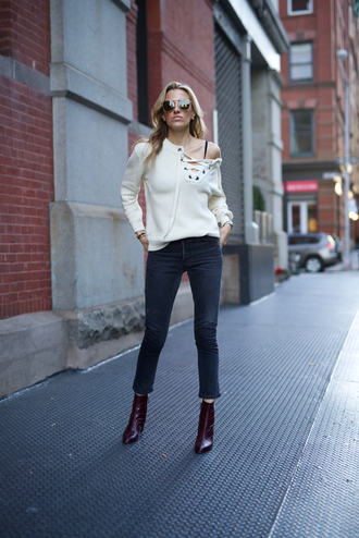 mind body swag blogger top jeans shoes bag sunglasses lace up jumper cropped jeans ankle boots