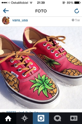 shoes vans vans authentic vans sneakers vans off the wall pineapple pineapple print pineapples leather