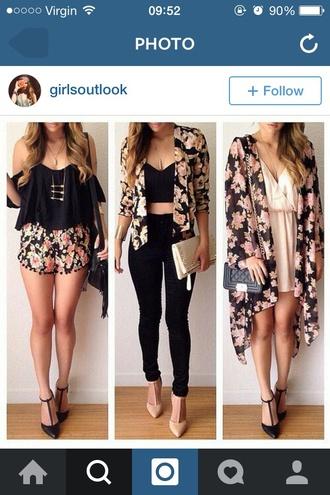jacket floral floral jacket blazer high heels high waisted jeans pink tank top