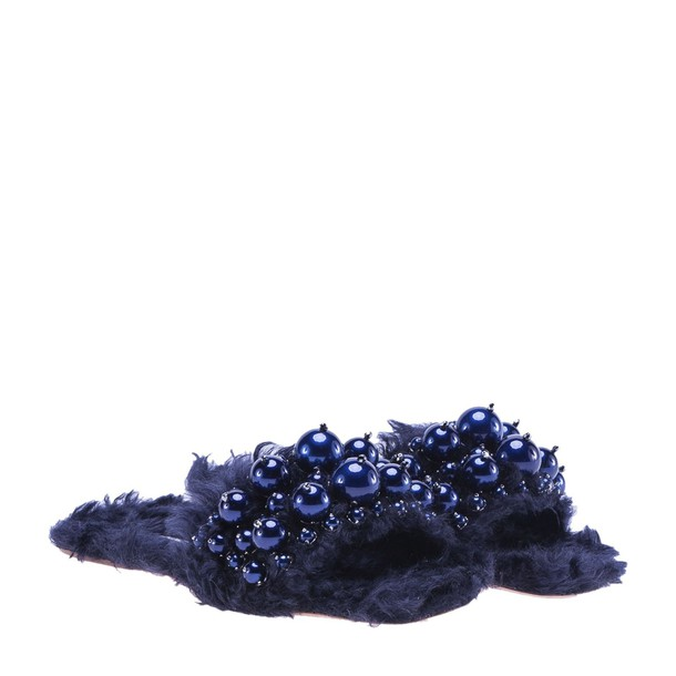 Miu Miu fur faux fur embellished sandals blue shoes