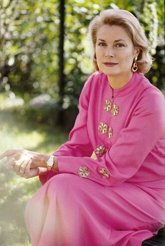 dress grace kelly actress long sleeves long sleeve dress pink dress maxi dress gold watch watch earrings hairstyles retro dress retro