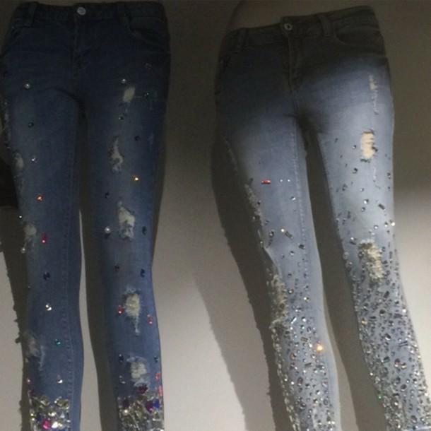 jeans rhinstones bejeweled