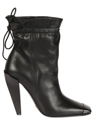 drawstring ankle boots black shoes