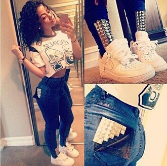 jeans t-shirt shoes studs nike air force 1 india westbrooks shirt high waisted jeans nike skinny jeans jersey pants studded jeans blue high waisted hairstyles jewery top leggings clothes swag watch crop tops urban india love cute studded denim pockets nike air force white