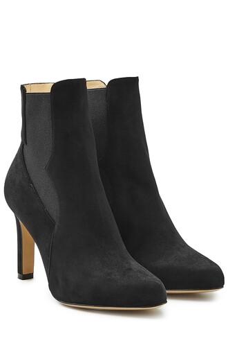 heel high heel high boots chelsea boots suede black shoes