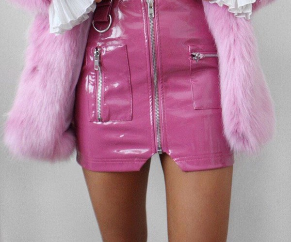 skirt pink leather pink skirt