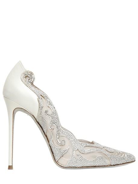 pumps lace silver white shoes