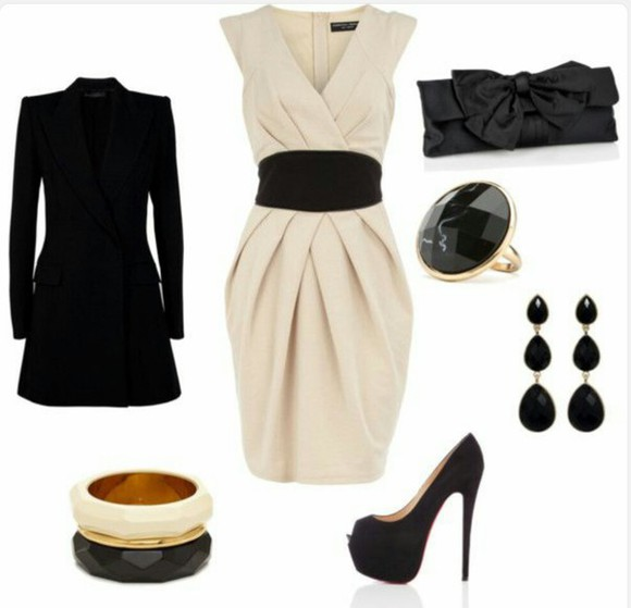 beige beige dress cute dress black belt