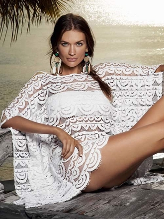 White Cover Up Bahama Brigitte Poncho - Pily Q Swimwear 2014