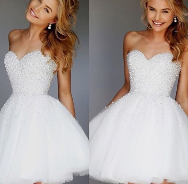 Dress: white dress, cocktail dress, strapless dress, strapless ...