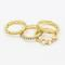 Golden diamante faux pearl cut out ring pack