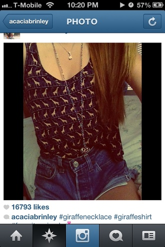 shirt cothes tank top giraffe black gold