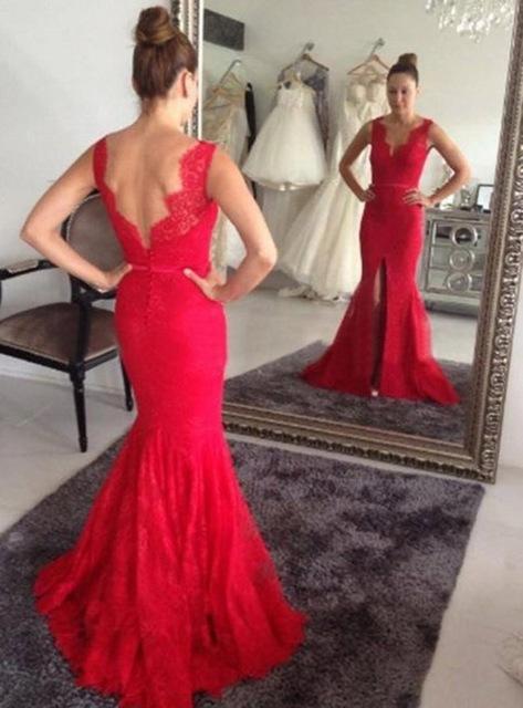 Aliexpress.com : Buy Red Lace Mermaid Long Evening Dress V_neck ...