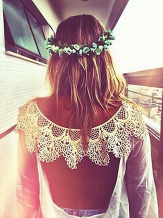 top white cut out back top with lace collar
