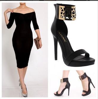 dress lbd bodycon dress heels shoes midi dress off the shoulder dress little black dress ankle strap heels