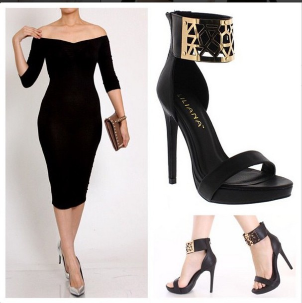 dress little black dress bodycon dress heels shoes midi dress off the shoulder dress off the shoulder dress little black dress ankle strap heels