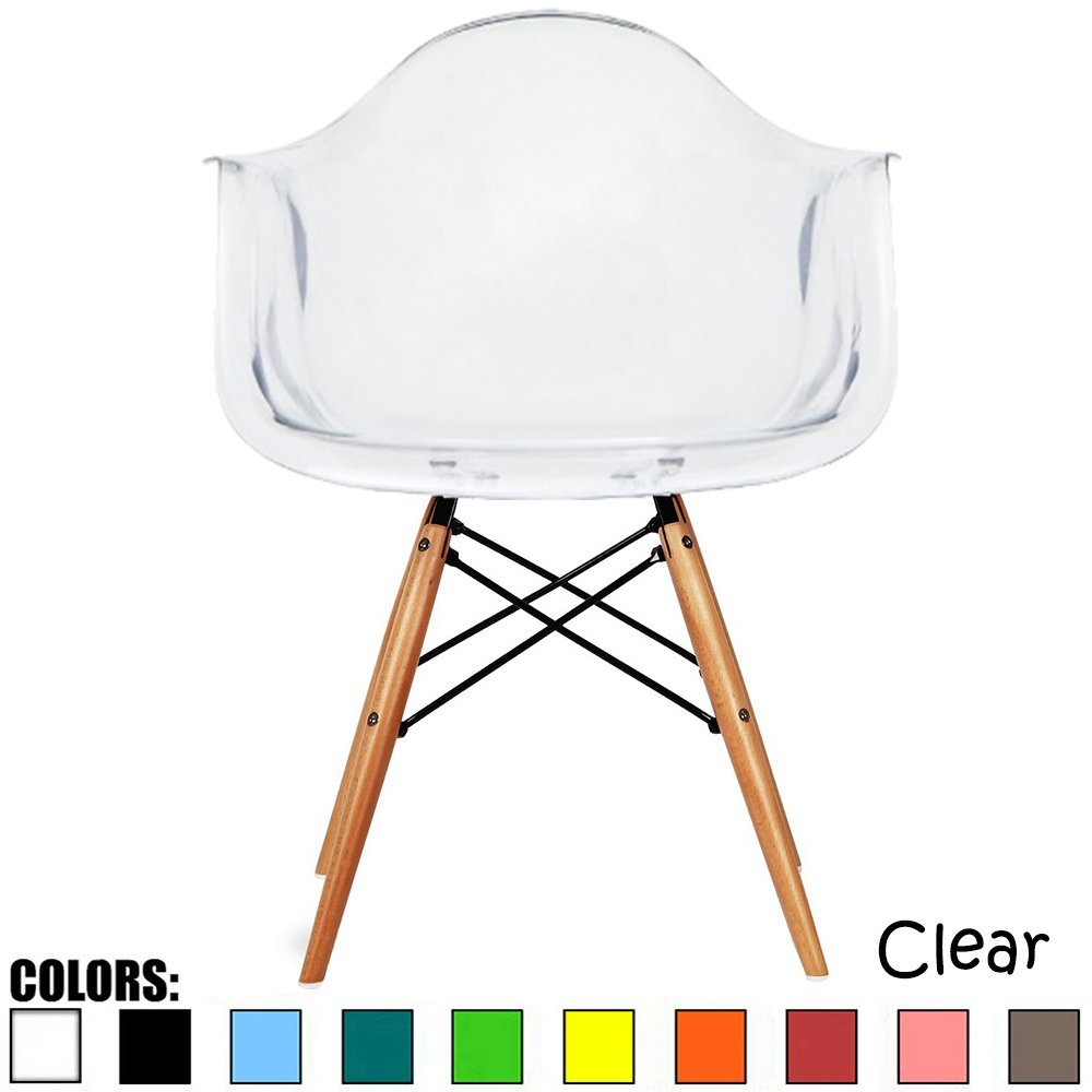 Amazon.com - 2xhome - Clear - Eames Style Armchair Natural Wood Legs Eiffel Dining Room Chair - Lounge Chair Arm Chair Arms Chairs Seats Wooden Wood Leg Wire Leg Dowel Leg Legged Base Chrome - Chairs