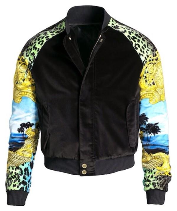 jacket bomber jacket black leopard print green yellow blue fashion zip up coat