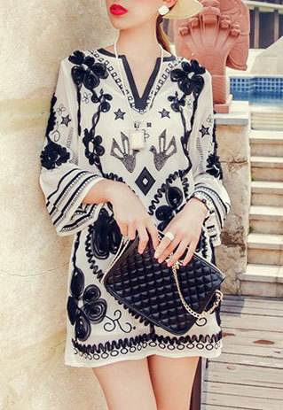 shopbazar shopping mall — [grzxy6601638]Celebrity Floral Embroidery Trumpet Sleeve Sheer Shift Dress