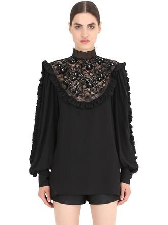 shirt embellished lace silk black top
